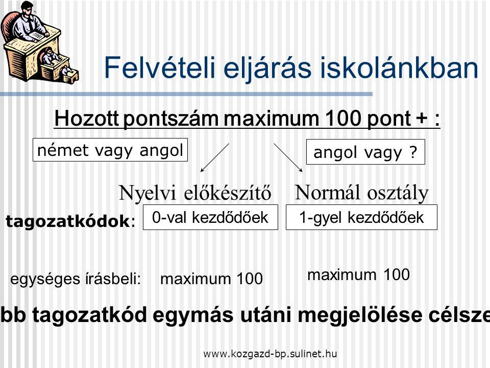 www.kozgazd-bp.sulinet.hu Az egységes írásbeli vizsgán való részvétel minden jelentkező számára kötelező! Jelentkezési határidő: 2008. december 10. A