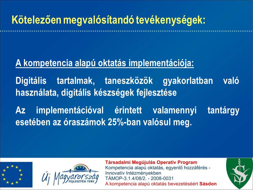 Kötelezően megvalósítandó tevékenységek: A kompetencia alapú oktatás implementációja: Digitális tartalmak, taneszközök gyakorlatban való használata, digitális készségek fejlesztése Az implementációval érintett valamennyi tantárgy esetében az óraszámok 25%-ban valósul meg.