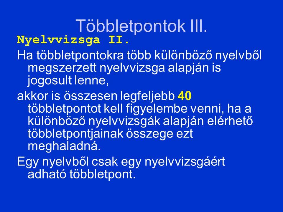 Többletpontok III. Nyelvvizsga II.