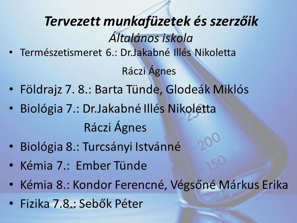 Tervezett munkafüzetek és szerzőik Általános iskola Természetismeret 6.: Dr.Jakabné Illés Nikoletta Ráczi Ágnes Földrajz 7.