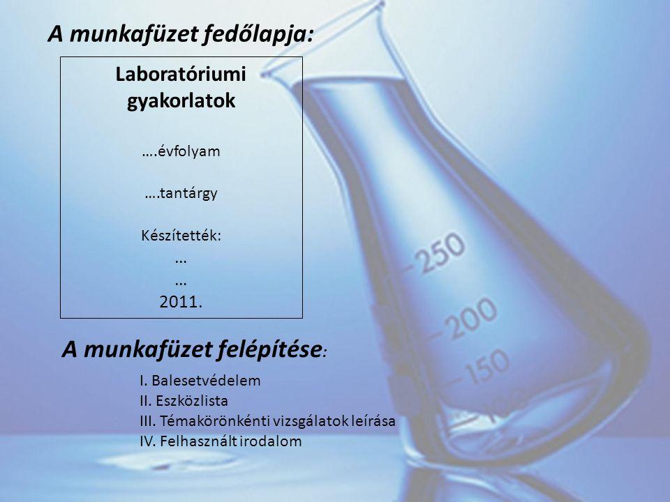 A munkafüzet fedőlapja: Laboratóriumi gyakorlatok ….évfolyam ….tantárgy Készítették: … 2011.