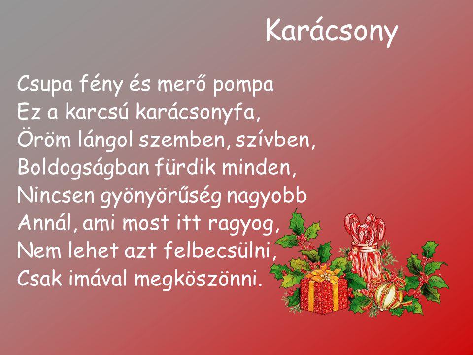 Karácsony Csupa fény és merő pompa Ez a karcsú karácsonyfa, Öröm lángol szemben, szívben, Boldogságban fürdik minden, Nincsen gyönyörűség nagyobb Anná