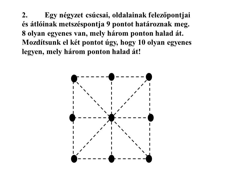 2.Egy négyzet csúcsai, oldalainak felezőpontjai és átlóinak metszéspontja 9 pontot határoznak meg. 8 olyan egyenes van, mely három ponton halad át. Mo