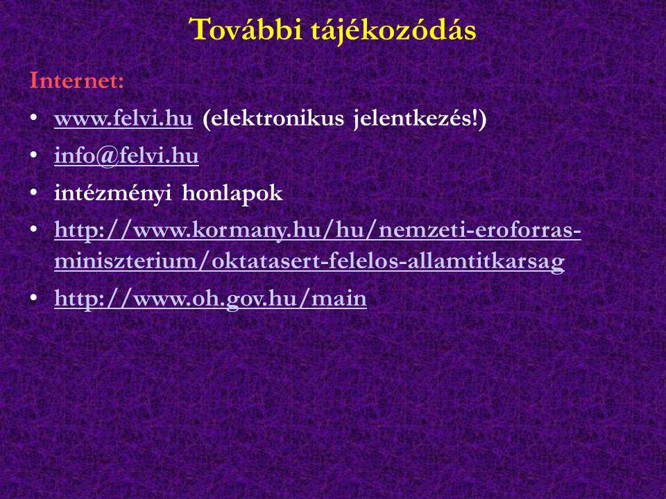 További tájékozódás Internet: www.felvi.hu (elektronikus jelentkezés!)www.felvi.hu info@felvi.hu intézményi honlapok http://www.kormany.hu/hu/nemzeti-eroforras- miniszterium/oktatasert-felelos-allamtitkarsaghttp://www.kormany.hu/hu/nemzeti-eroforras- miniszterium/oktatasert-felelos-allamtitkarsag http://www.oh.gov.hu/main