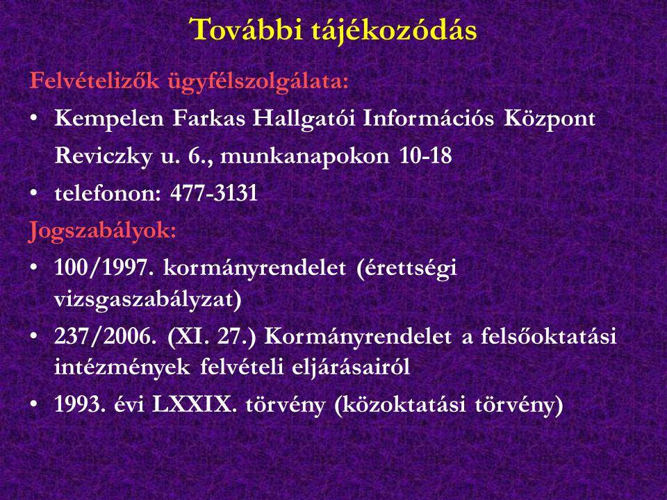 További tájékozódás Felvételizők ügyfélszolgálata: Kempelen Farkas Hallgatói Információs Központ Reviczky u.