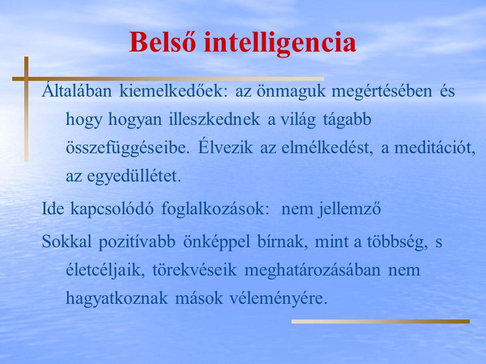 Belső intelligencia Általában kiemelkedőek: az önmaguk megértésében és hogy hogyan illeszkednek a világ tágabb összefüggéseibe. Élvezik az elmélkedést