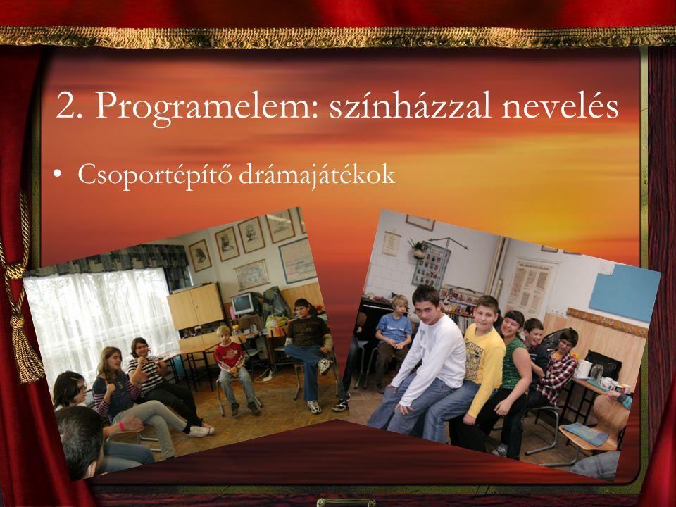 2. Programelem: színházzal nevelés Csoportépítő drámajátékok