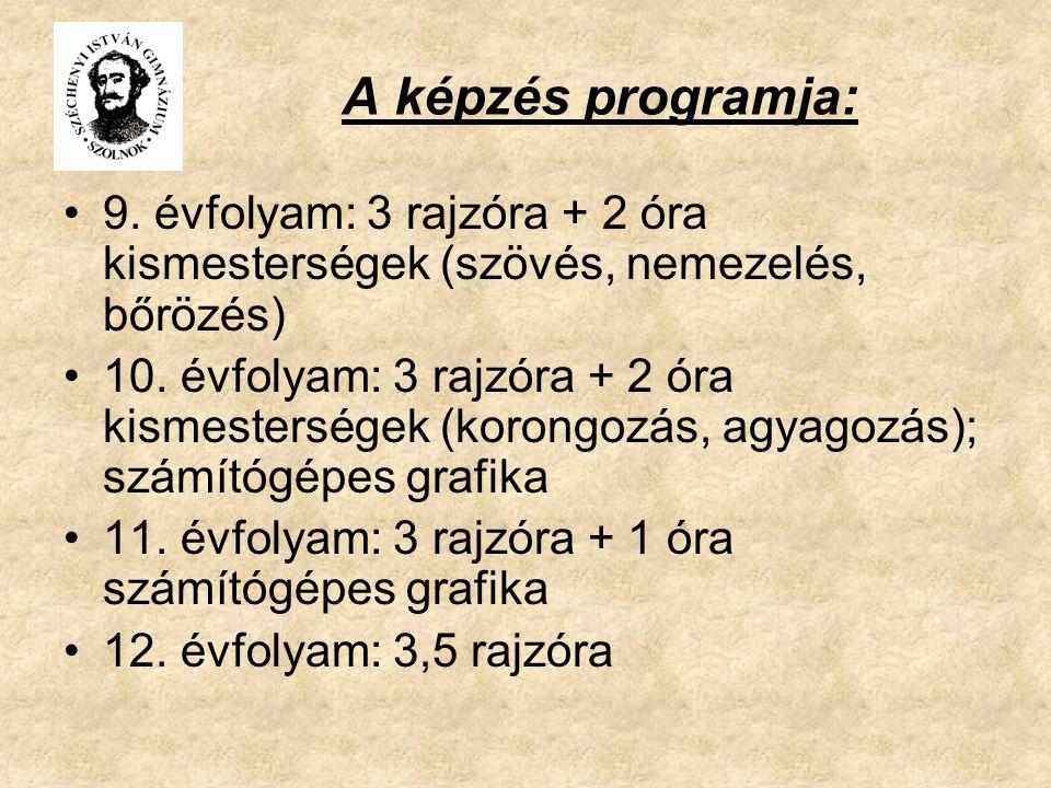 A képzés programja: 9.évfolyam: 3 rajzóra + 2 óra kismesterségek (szövés, nemezelés, bőrözés) 10.