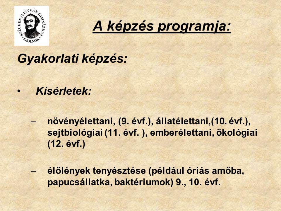 A képzés programja: Gyakorlati képzés: Kísérletek: –növényélettani, (9. évf.), állatélettani,(10. évf.), sejtbiológiai (11. évf. ), emberélettani, öko
