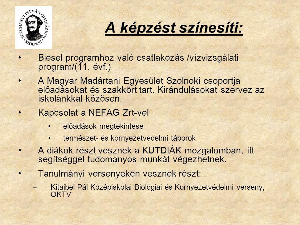A képzést színesíti: Biesel programhoz való csatlakozás /vízvizsgálati program/(11. évf.) A Magyar Madártani Egyesület Szolnoki csoportja előadásokat