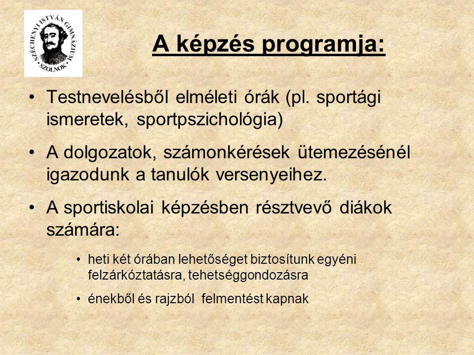 A képzés programja: Testnevelésből elméleti órák (pl. sportági ismeretek, sportpszichológia) A dolgozatok, számonkérések ütemezésénél igazodunk a tanu