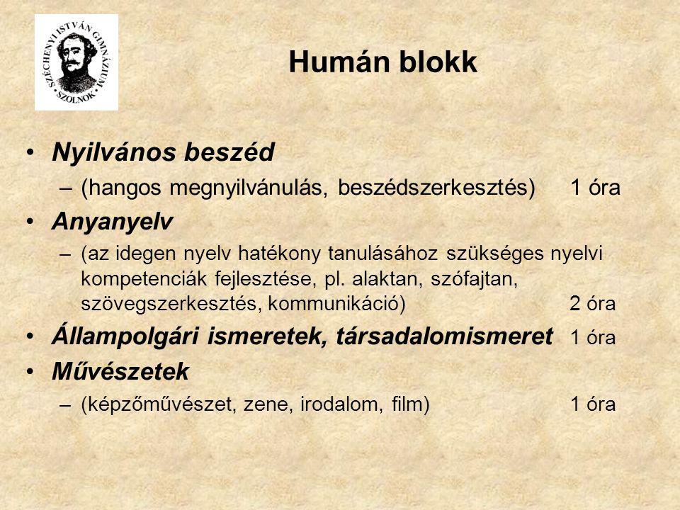 Humán blokk Nyilvános beszéd –(hangos megnyilvánulás, beszédszerkesztés)1 óra Anyanyelv –(az idegen nyelv hatékony tanulásához szükséges nyelvi kompet