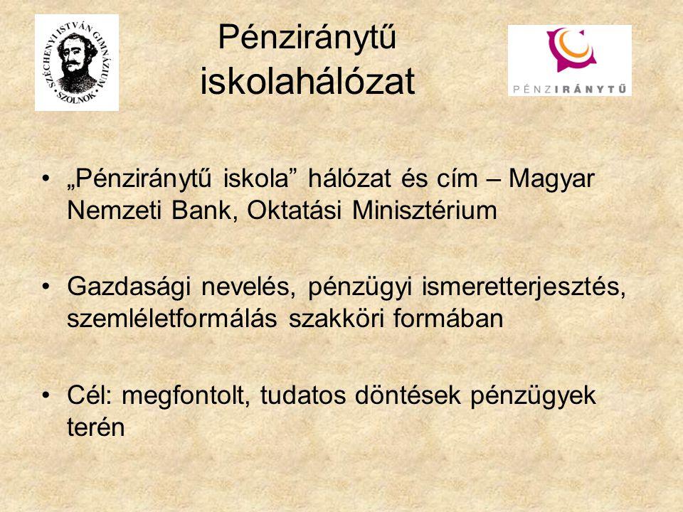 """Pénziránytű iskolahálózat """"Pénziránytű iskola hálózat és cím – Magyar Nemzeti Bank, Oktatási Minisztérium Gazdasági nevelés, pénzügyi ismeretterjesztés, szemléletformálás szakköri formában Cél: megfontolt, tudatos döntések pénzügyek terén"""