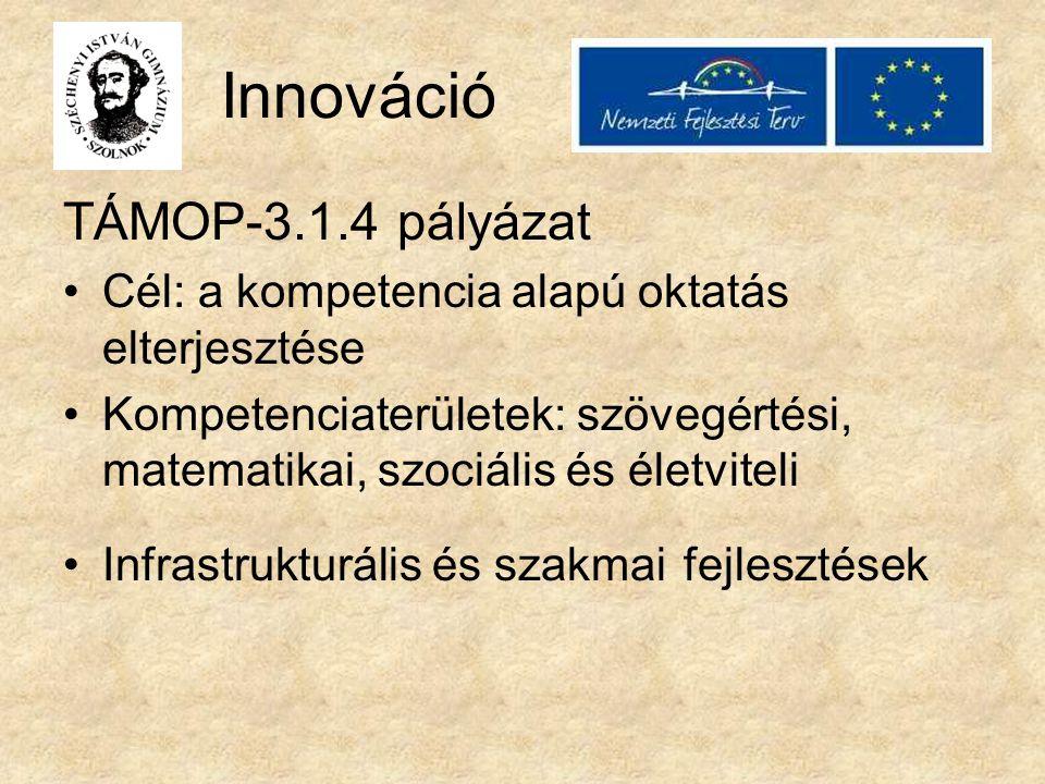 Innováció TÁMOP-3.1.4 pályázat Cél: a kompetencia alapú oktatás elterjesztése Kompetenciaterületek: szövegértési, matematikai, szociális és életviteli Infrastrukturális és szakmai fejlesztések