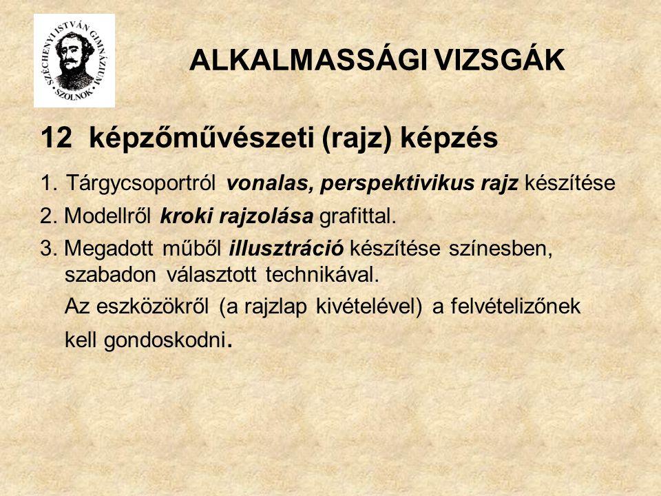ALKALMASSÁGI VIZSGÁK 12 képzőművészeti (rajz) képzés 1.