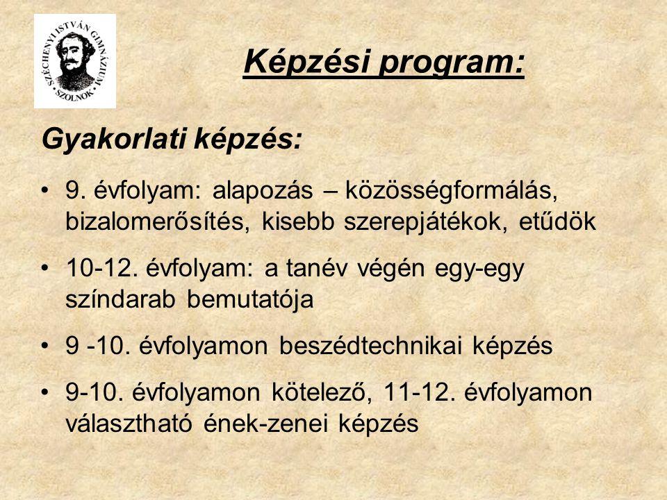 Képzési program: Gyakorlati képzés: 9. évfolyam: alapozás – közösségformálás, bizalomerősítés, kisebb szerepjátékok, etűdök 10-12. évfolyam: a tanév v