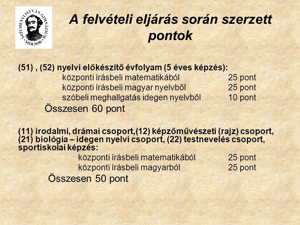 A felvételi eljárás során szerzett pontok (51), (52) nyelvi előkészítő évfolyam (5 éves képzés): központi írásbeli matematikából25 pont központi írásbeli magyar nyelvből25 pont szóbeli meghallgatás idegen nyelvből 10 pont Összesen 60 pont (11) irodalmi, drámai csoport,(12) képzőművészeti (rajz) csoport, (21) biológia – idegen nyelvi csoport, (22) testnevelés csoport, sportiskolai képzés: központi írásbeli matematikából25 pont központi írásbeli magyarból25 pont Összesen 50 pont