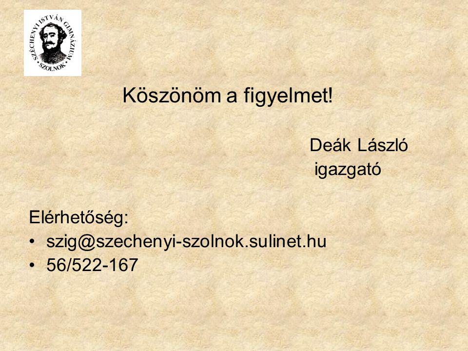 Köszönöm a figyelmet! Deák László igazgató Elérhetőség: szig@szechenyi-szolnok.sulinet.hu 56/522-167