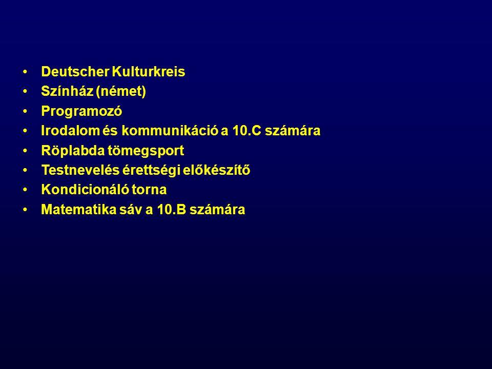 Deutscher Kulturkreis Színház (német) Programozó Irodalom és kommunikáció a 10.C számára Röplabda tömegsport Testnevelés érettségi előkészítő Kondicionáló torna Matematika sáv a 10.B számára