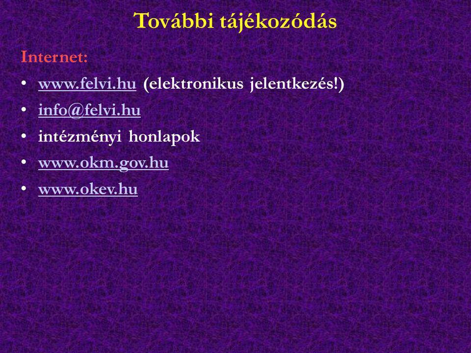 További tájékozódás Internet: www.felvi.hu (elektronikus jelentkezés!)www.felvi.hu info@felvi.hu intézményi honlapok www.okm.gov.hu www.okev.hu