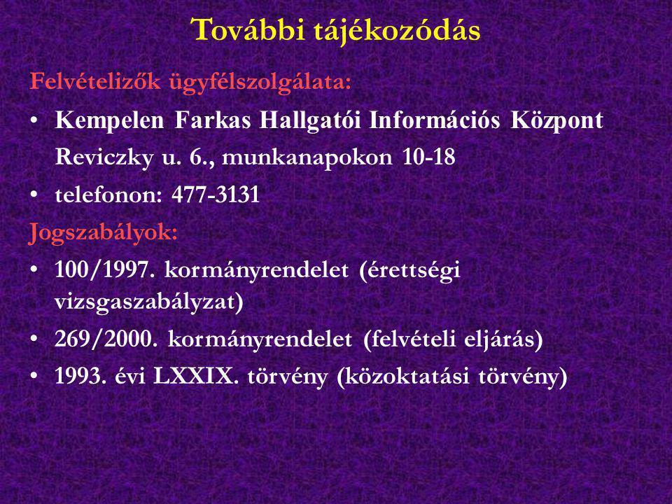 További tájékozódás Felvételizők ügyfélszolgálata: Kempelen Farkas Hallgatói Információs Központ Reviczky u. 6., munkanapokon 10-18 telefonon: 477-313