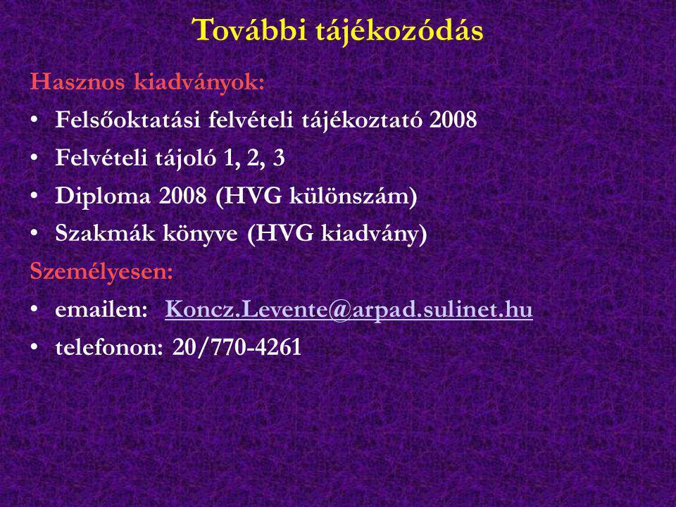További tájékozódás Hasznos kiadványok: Felsőoktatási felvételi tájékoztató 2008 Felvételi tájoló 1, 2, 3 Diploma 2008 (HVG különszám) Szakmák könyve