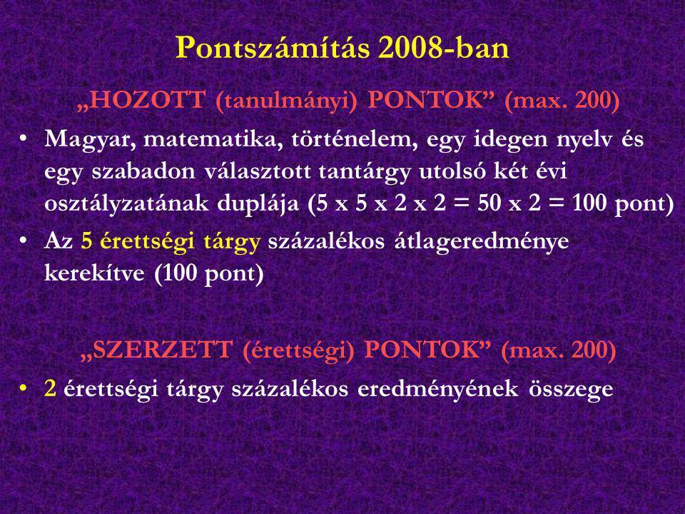 """Pontszámítás 2008-ban """"HOZOTT (tanulmányi) PONTOK"""" (max. 200) Magyar, matematika, történelem, egy idegen nyelv és egy szabadon választott tantárgy uto"""