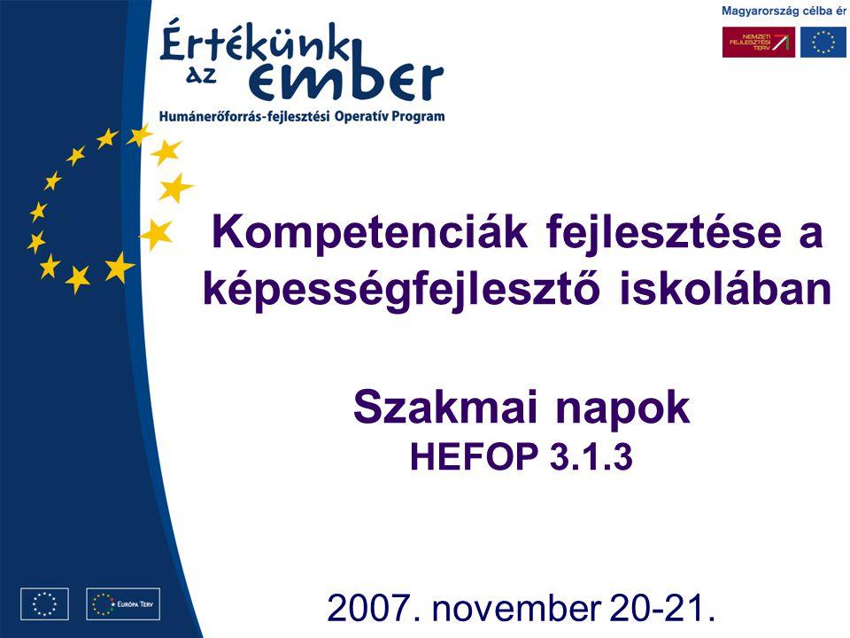 Kompetenciák fejlesztése a képességfejlesztő iskolában 2007. november 20-21. Szakmai napok HEFOP 3.1.3