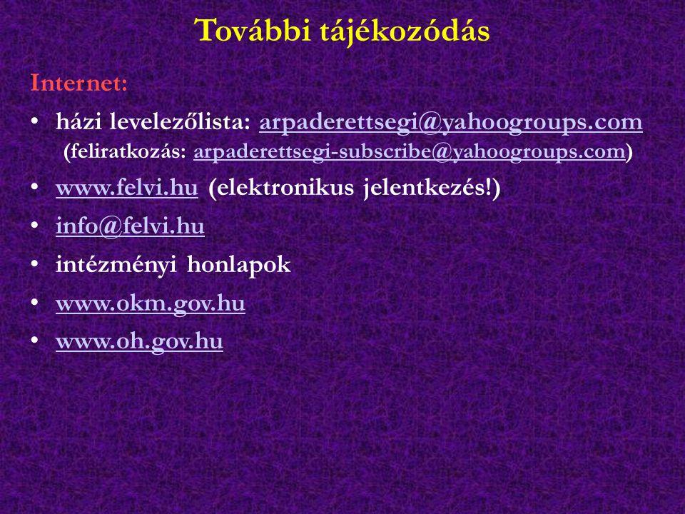 További tájékozódás Internet: házi levelezőlista: arpaderettsegi@yahoogroups.comarpaderettsegi@yahoogroups.com (feliratkozás: arpaderettsegi-subscribe@yahoogroups.com)arpaderettsegi-subscribe@yahoogroups.com www.felvi.hu (elektronikus jelentkezés!)www.felvi.hu info@felvi.hu intézményi honlapok www.okm.gov.hu www.oh.gov.hu