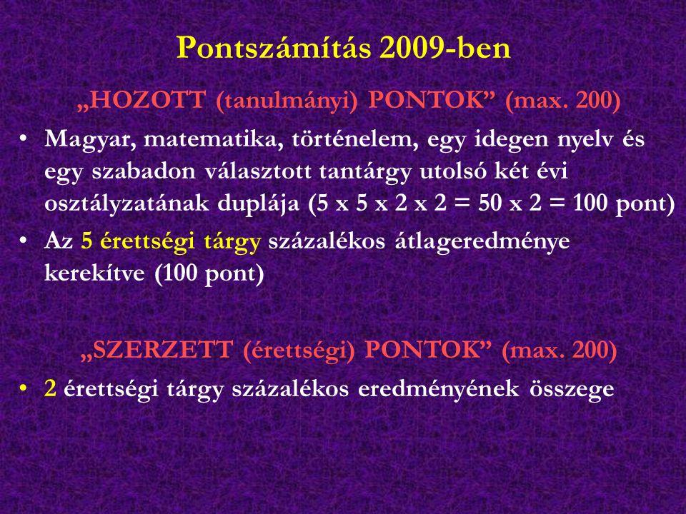 """Pontszámítás 2009-ben """"HOZOTT (tanulmányi) PONTOK"""" (max. 200) Magyar, matematika, történelem, egy idegen nyelv és egy szabadon választott tantárgy uto"""