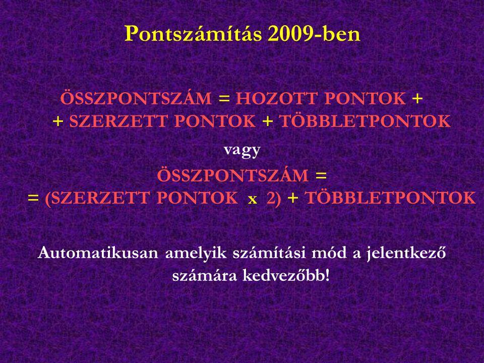 Pontszámítás 2009-ben ÖSSZPONTSZÁM = HOZOTT PONTOK + + SZERZETT PONTOK + TÖBBLETPONTOK vagy ÖSSZPONTSZÁM = = (SZERZETT PONTOK x 2) + TÖBBLETPONTOK Aut