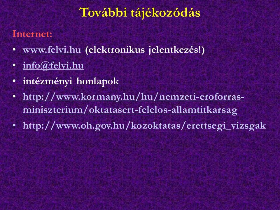 További tájékozódás Internet: www.felvi.hu (elektronikus jelentkezés!)www.felvi.hu info@felvi.hu intézményi honlapok http://www.kormany.hu/hu/nemzeti-eroforras- miniszterium/oktatasert-felelos-allamtitkarsaghttp://www.kormany.hu/hu/nemzeti-eroforras- miniszterium/oktatasert-felelos-allamtitkarsag http://www.oh.gov.hu/kozoktatas/erettsegi_vizsgak