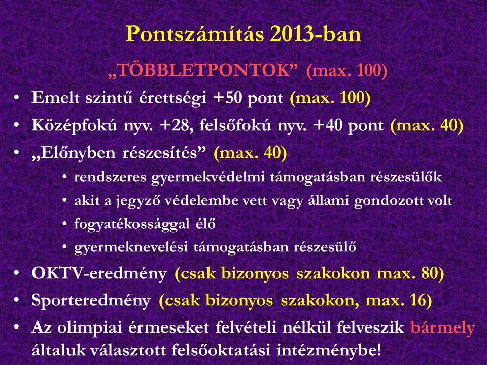 """Pontszámítás 2013-ban """"TÖBBLETPONTOK"""" (max. 100) Emelt szintű érettségi +50 pont (max. 100) Középfokú nyv. +28, felsőfokú nyv. +40 pont (max. 40) """"Elő"""
