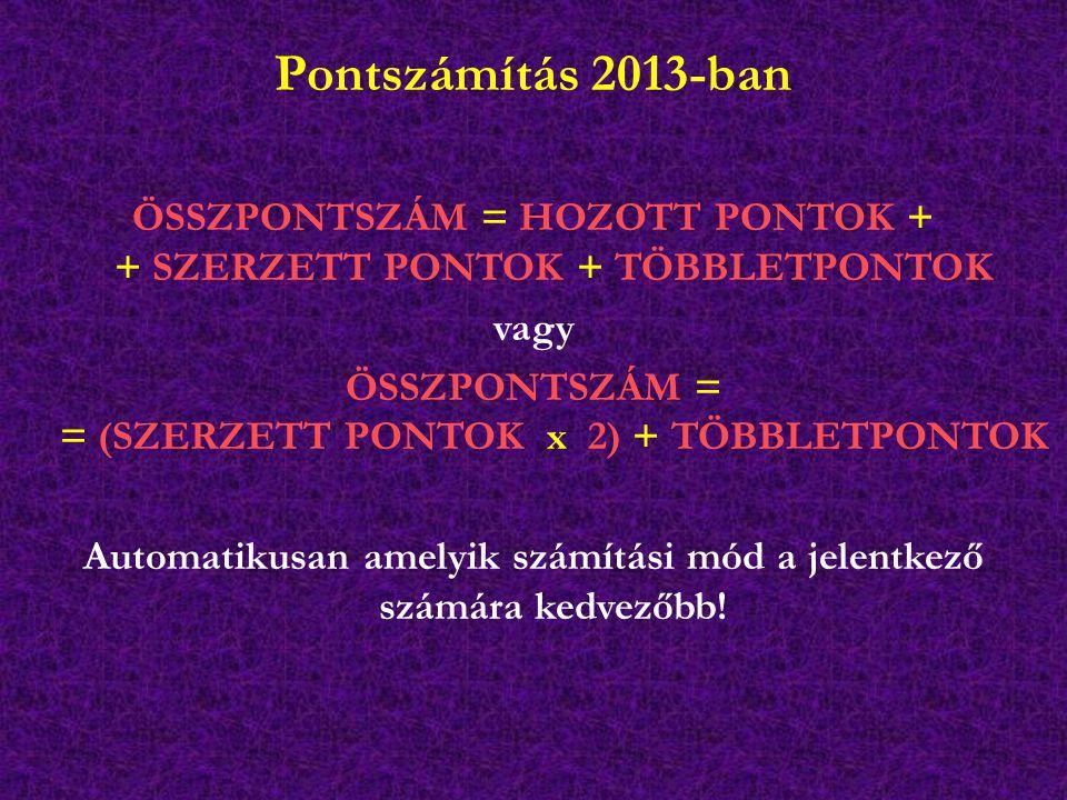 Pontszámítás 2013-ban ÖSSZPONTSZÁM = HOZOTT PONTOK + + SZERZETT PONTOK + TÖBBLETPONTOK vagy ÖSSZPONTSZÁM = = (SZERZETT PONTOK x 2) + TÖBBLETPONTOK Automatikusan amelyik számítási mód a jelentkező számára kedvezőbb!
