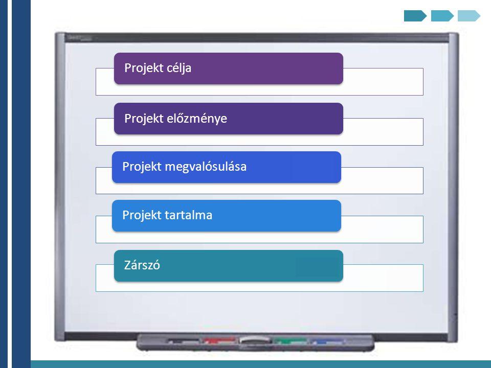 Projekt céljaProjekt előzményeProjekt megvalósulásaProjekt tartalmaZárszó