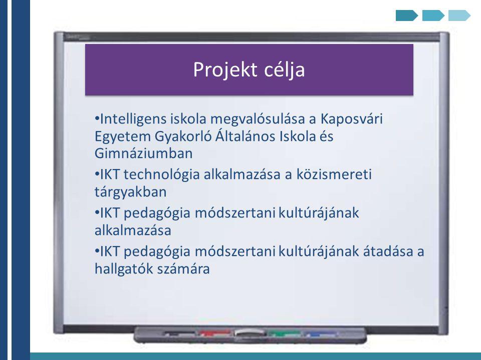 Projekt célja Intelligens iskola megvalósulása a Kaposvári Egyetem Gyakorló Általános Iskola és Gimnáziumban IKT technológia alkalmazása a közismereti