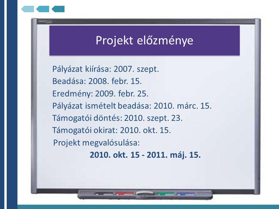 Projekt előzménye Pályázat kiírása: 2007. szept. Beadása: 2008. febr. 15. Eredmény: 2009. febr. 25. Pályázat ismételt beadása: 2010. márc. 15. Támogat