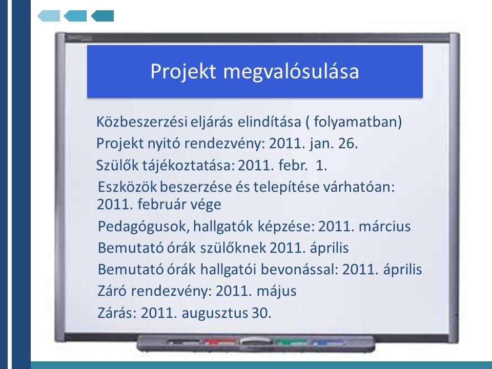 Projekt megvalósulása Közbeszerzési eljárás elindítása ( folyamatban) Projekt nyitó rendezvény: 2011. jan. 26. Szülők tájékoztatása: 2011. febr. 1. Es