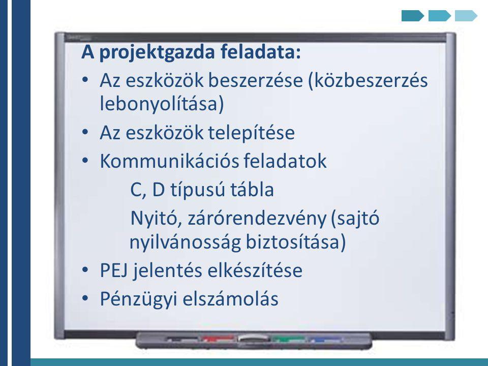 A projektgazda feladata: Az eszközök beszerzése (közbeszerzés lebonyolítása) Az eszközök telepítése Kommunikációs feladatok C, D típusú tábla Nyitó, z