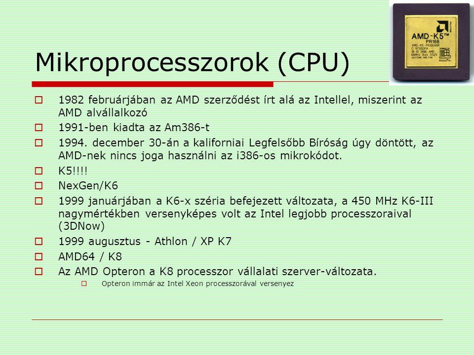 Mikroprocesszorok (CPU)  1982 februárjában az AMD szerződést írt alá az Intellel, miszerint az AMD alvállalkozó  1991-ben kiadta az Am386-t  1994.