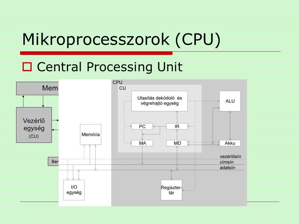 """Mikroprocesszorok (CPU)  buszok (sinek) Jelvezetékek összetartozó csoportja adatokat és információkat cserélődnek adatbusz címbusz vezérlőbusz MEMR,MEMW,IOW,IOR """"szélessége bit"""