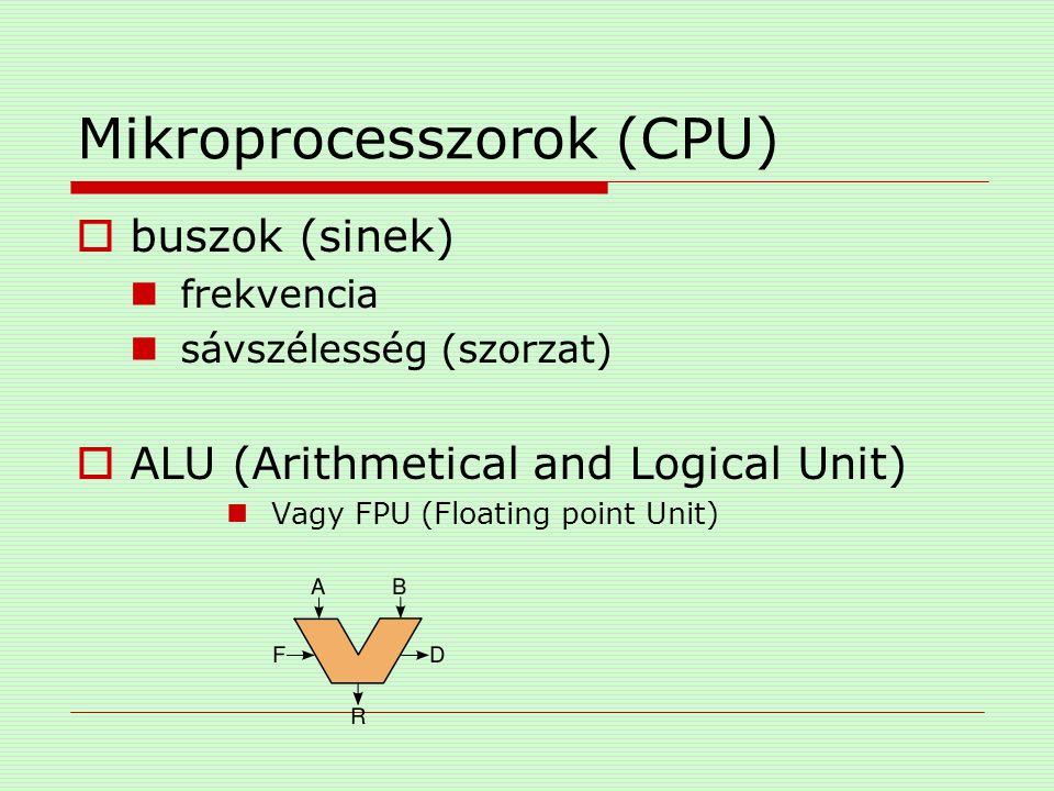 Mikroprocesszorok (CPU)  regiszterek Tárolóegység Gyors (10 -8 mp.) Ideiglenes Egy helyre hivatkozás (algoritmusok) Akkumulátor ALU operandusok (ma már regisztertömb) IR (Instruction) PC (Program Counter) SP (Stack Pointer)