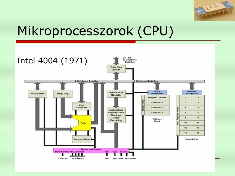 Mikroprocesszorok (CPU)  órajel alacsony és egy magas jelszint tevékenységet koordinál 2 jel = 1 processzorciklust Hz (MHz) (8MHz=8millió)  MIPS (Million Instruction Per Second) Intel 8080: 640 kIPS ->AMD Athlon FX-60: 27 100 MIPS