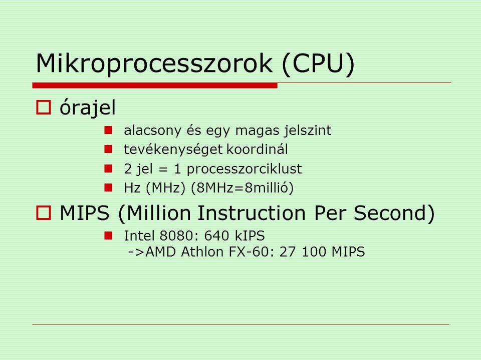 Mikroprocesszorok (CPU)  órajel alacsony és egy magas jelszint tevékenységet koordinál 2 jel = 1 processzorciklust Hz (MHz) (8MHz=8millió)  MIPS (Mi