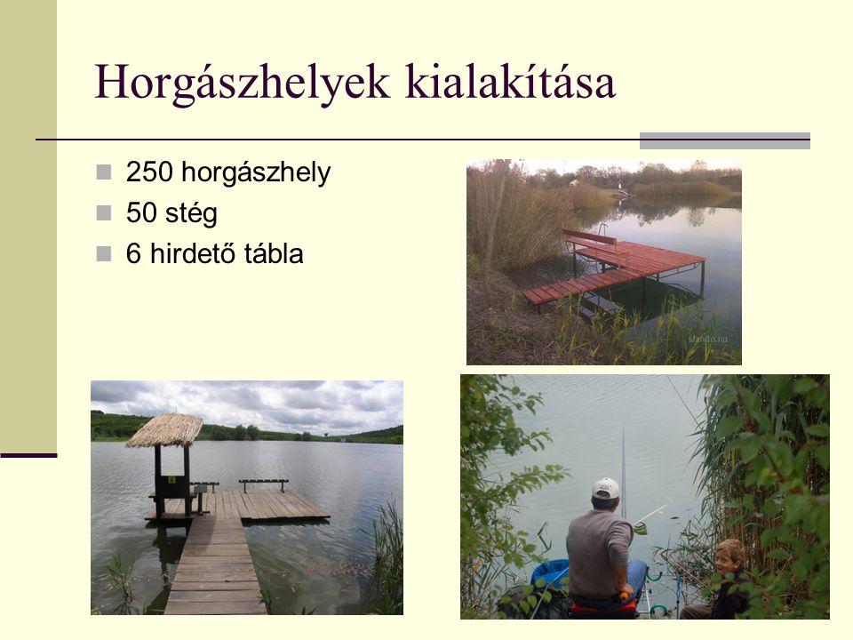 Horgászhelyek kialakítása 250 horgászhely 50 stég 6 hirdető tábla