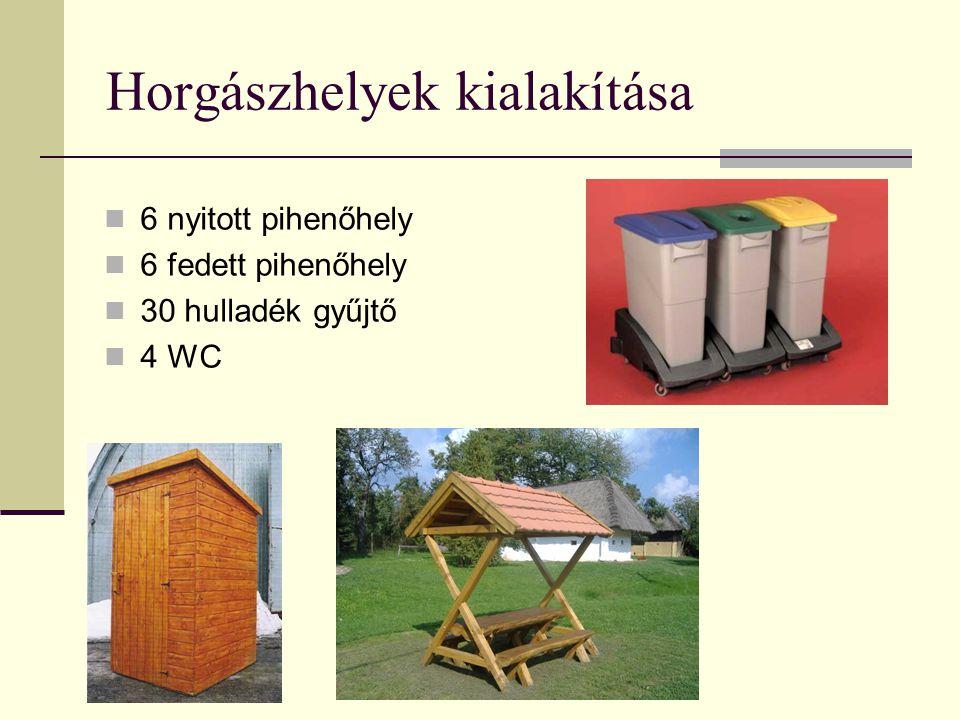 Horgászhelyek kialakítása 6 nyitott pihenőhely 6 fedett pihenőhely 30 hulladék gyűjtő 4 WC