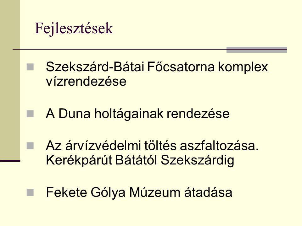 Szekszárd-Bátai Főcsatorna komplex vízrendezése A Duna holtágainak rendezése Az árvízvédelmi töltés aszfaltozása. Kerékpárút Bátától Szekszárdig Feket
