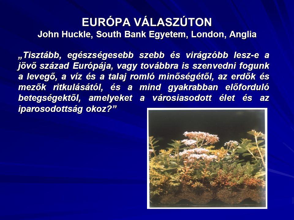 """EURÓPA VÁLASZÚTON John Huckle, South Bank Egyetem, London, Anglia """"Tisztább, egészségesebb szebb és virágzóbb lesz-e a jövő század Európája, vagy tová"""