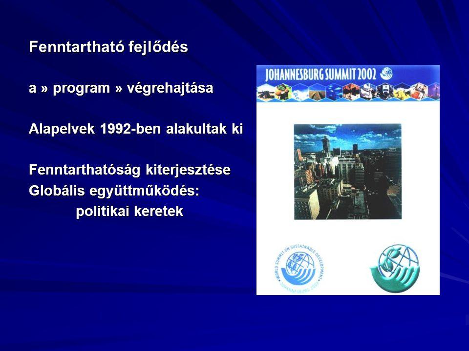 Fenntartható fejlődés a » program » végrehajtása Alapelvek 1992-ben alakultak ki Fenntarthatóság kiterjesztése Globális együttműködés: politikai keret