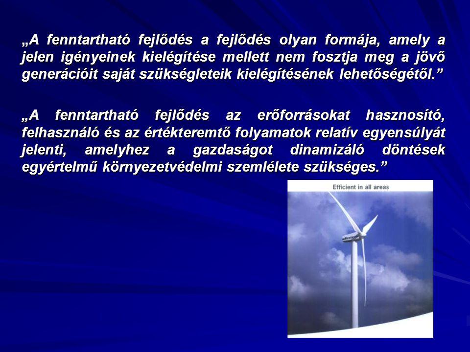 """""""A fenntartható fejlődés a fejlődés olyan formája, amely a jelen igényeinek kielégítése mellett nem fosztja meg a jövő generációit saját szükségleteik"""
